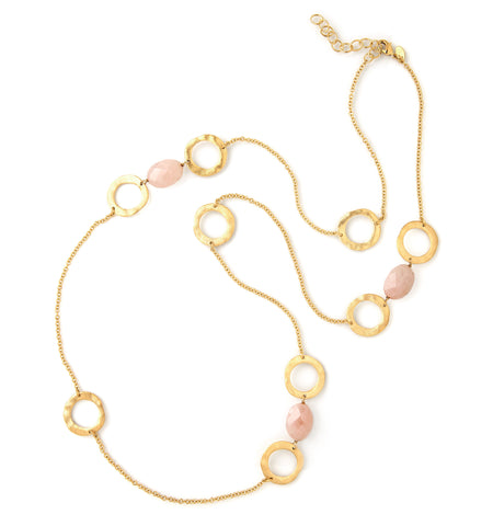 Rose Quartz + Circle Station Necklace