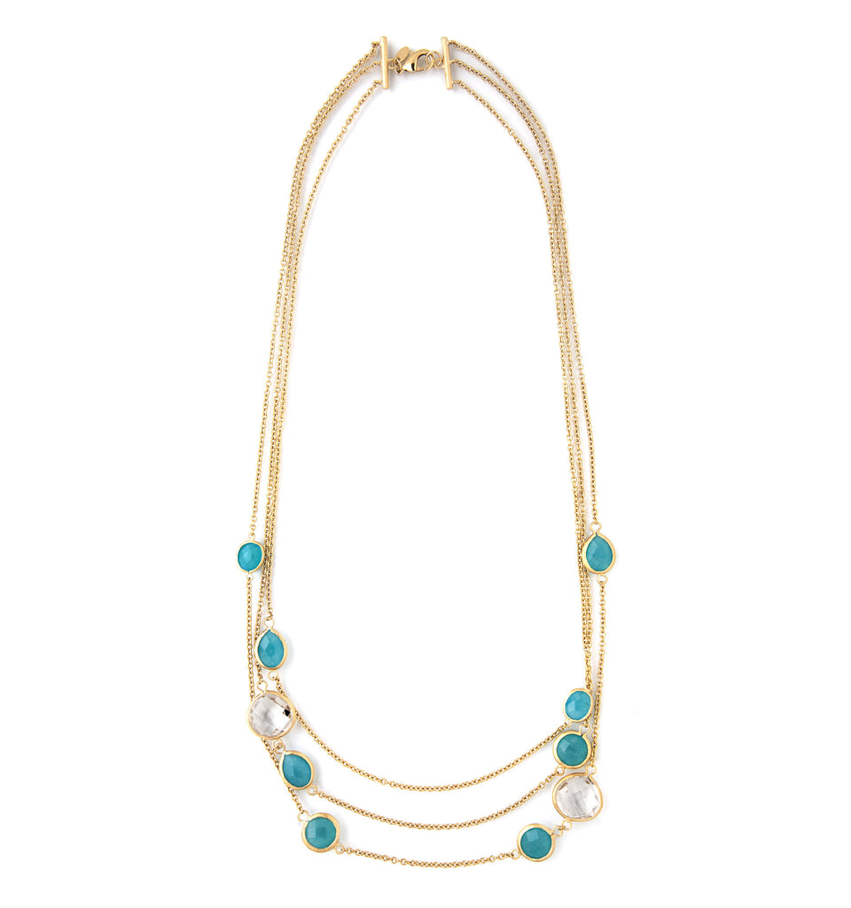 Caribbean Blue Quartzite + Rock Crystal Layered Necklace