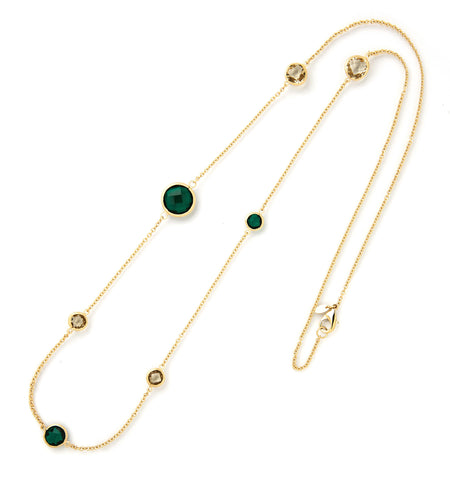 Emerald + Olive Station Necklace