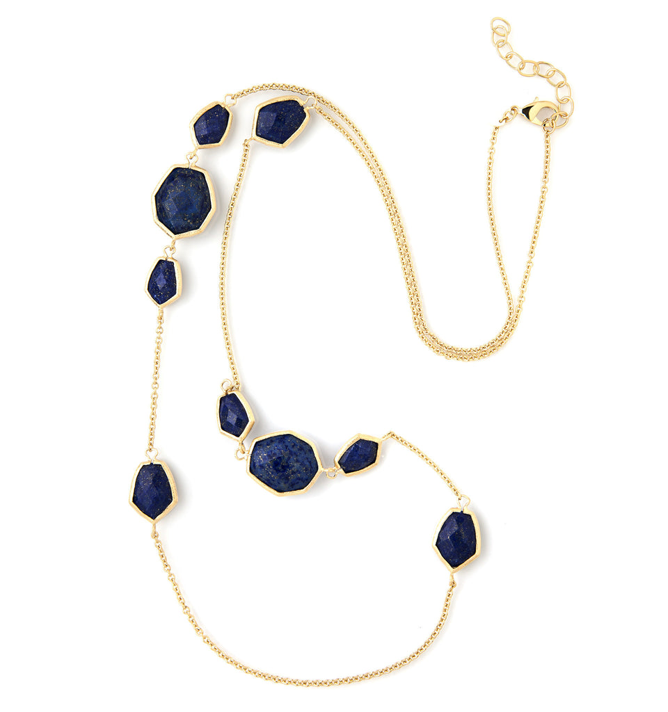 Lapis Deco Station Necklace