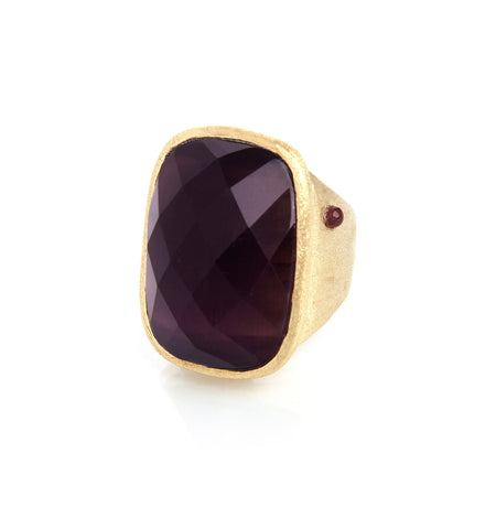 Purple Cat's Eye Cocktail Ring w/ Side Accent