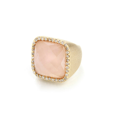 Rose Quartz + Simulated Diamond Cocktail Ring