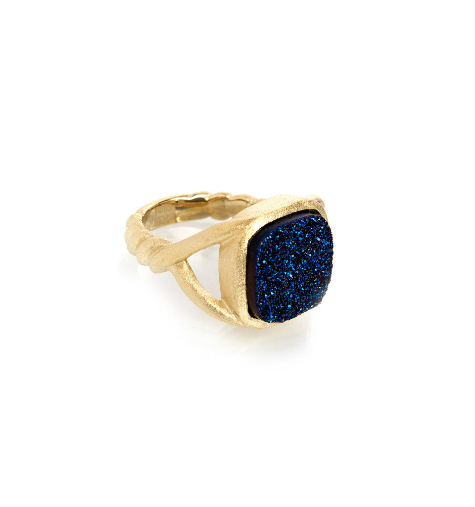 Electric Blue Druzy Quartz Twisted Shank Ring