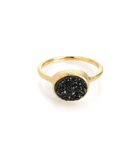 Black Druzy Quartz East West Oval Ring