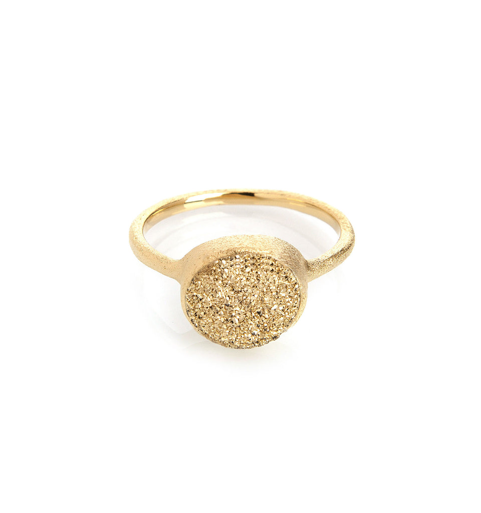 Gold Druzy Quartz East West Oval Ring