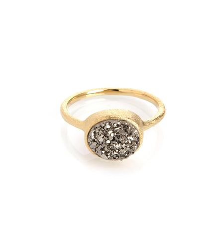 Platinum Druzy Quartz East West Oval Ring