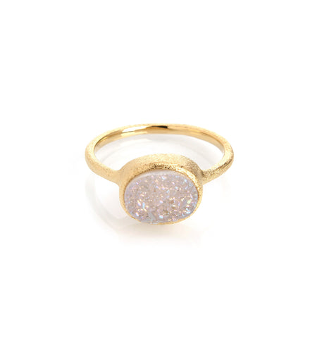 White Druzy Quartz East West Oval Ring