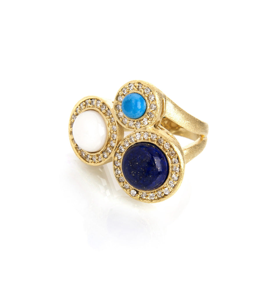 Lapis + Mother of Pearl + Magnesite Ring