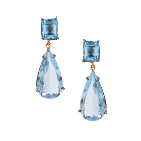 Signature Collection Topaz 14K Gold & Silver Drop Earrings