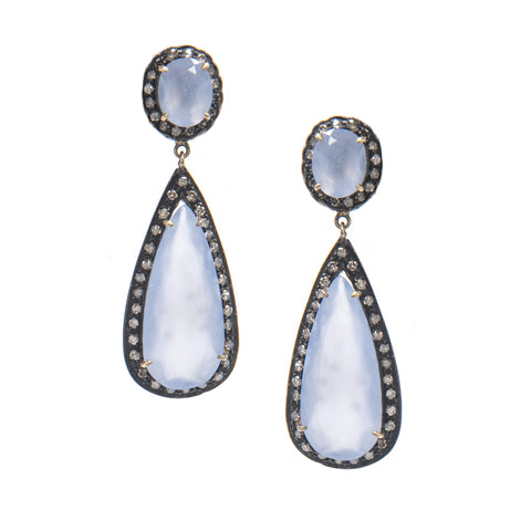 Signature Collection Pave Diamond & Chalcedony 14K Gold & Silver Drop Earrings