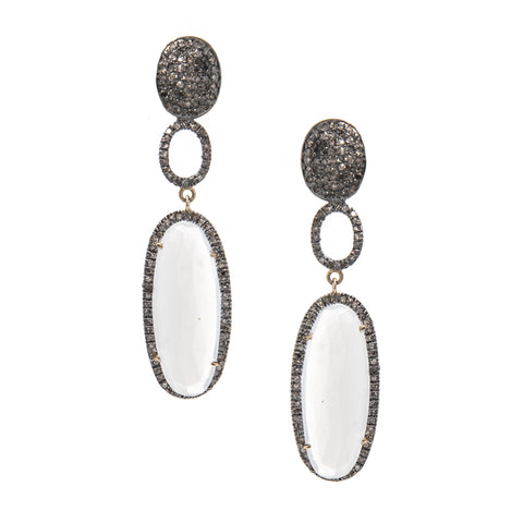 Signature Collection Pave Diamond & Moonstone 14K Gold & Silver Drop Earrings