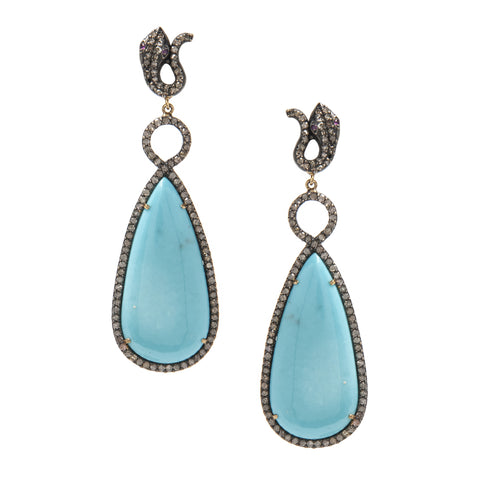 Signature Collection Pave Diamond & Turquoise 14K Gold & Silver Drop Earrings