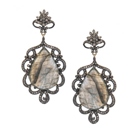 Signature Collection Pave Diamond & Labradorite 14K & Silver Earrings