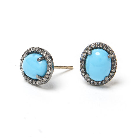 Signature Collection Pave Diamond & Turquoise 14K & Silver Stud Earrings