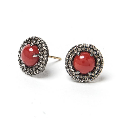 Signature Collection Pave Diamond & Coral 14K & Silver Stud Earrings