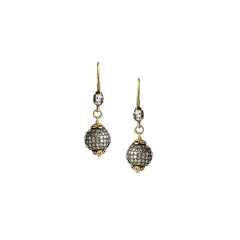 Signature Collection Pave Diamond Sterling Silver Drop Earrings