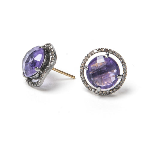 Signature Collection Pave Diamond & Amethyst 14K & Silver Stud Earrings