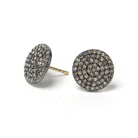 Signature Collection Pave Diamond 14K & Silver Stud Earrings