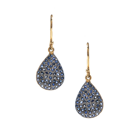 Signature Collection - Pave Sapphire 14K Gold & Silver Drop Earrings