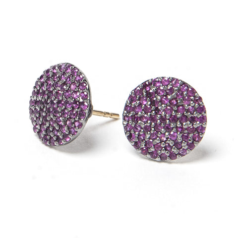 Signature Collection Pave Ruby 14K Gold & Sterling Silver Stud Earrings