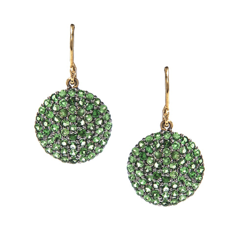 Signature Collection Pave Emerald 14K Gold & Silver Drop Earrings