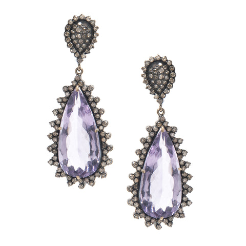 Signature Collection Pave Diamond & Amethyst 14K Gold & Silver Drop Earrings