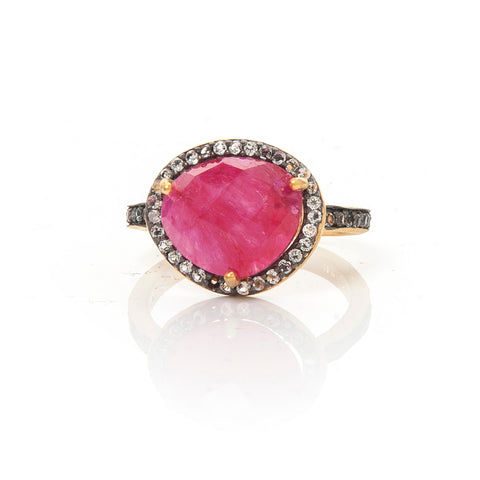 Ruby + White Topaz Ring Size 8 - Closeout