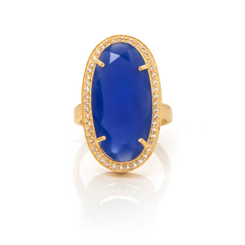 Blue Chalcedony + White Topaz Cocktail Ring - Closeout