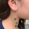 Emerald Chain Threader Dangle Earrings