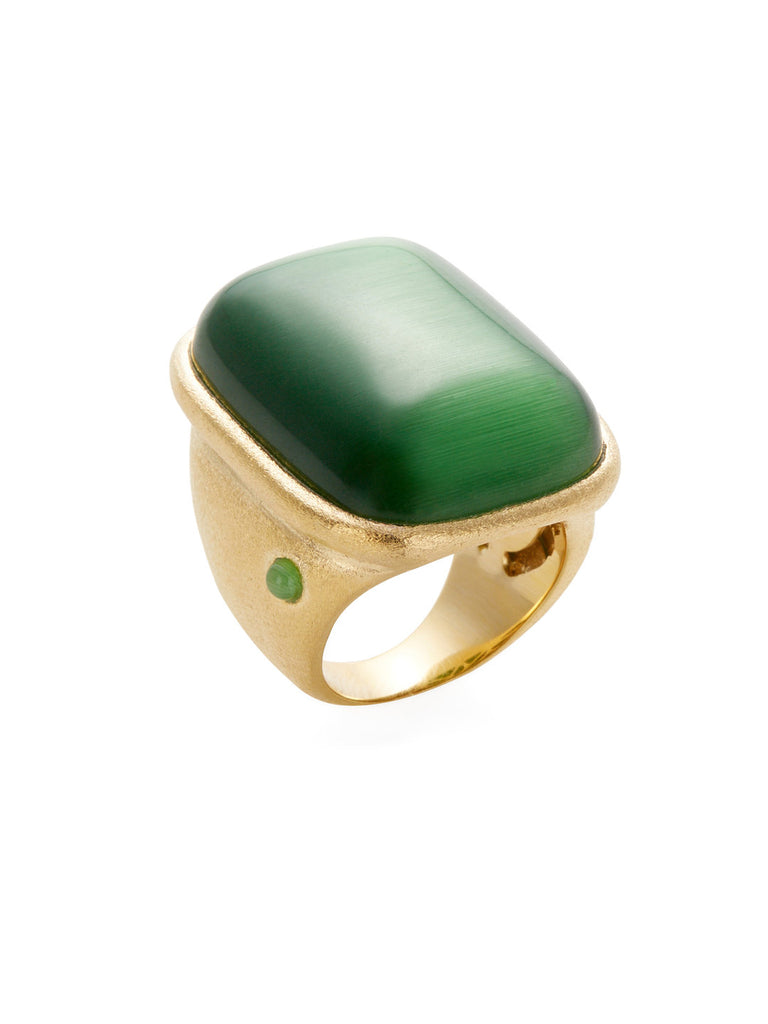 Lime Green Cat's Eye Cocktail Ring + Side Accent
