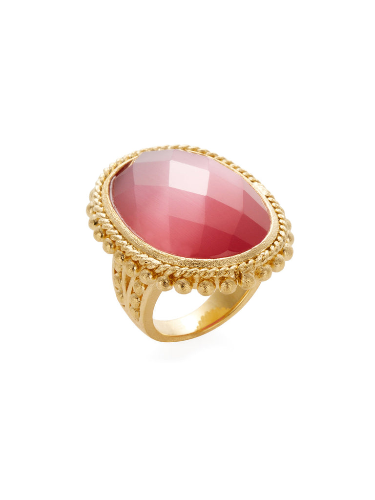 Raspberry Cat's Eye Oval Cocktail Ring