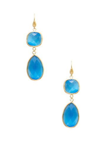 Cat's Eye Blue Double Dangle Earrings
