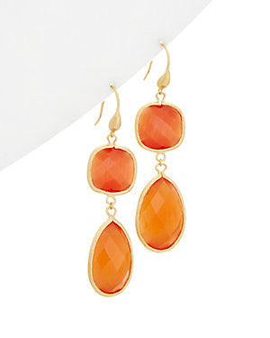 Orange Cat's Eye Double Dangle Earrings
