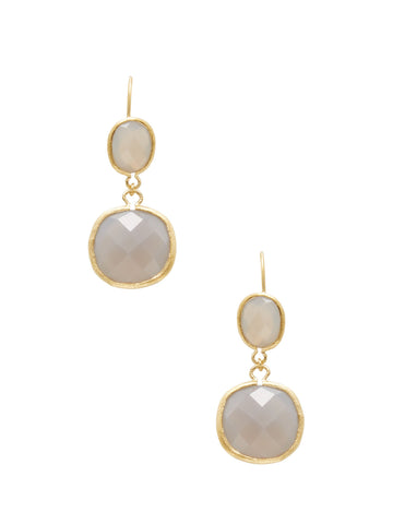 Chalcedony Double Dangle Earrings
