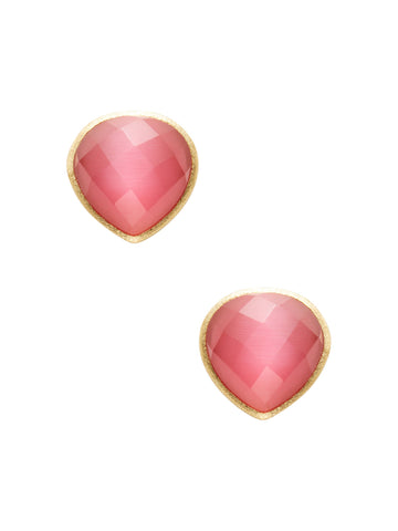 Raspberry Cat's Eye Teardrop Stud Earrings