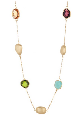 Multi-Colored Crystal + Satin Pebble Station Necklace