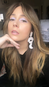 White Iridescent Disco Earrings