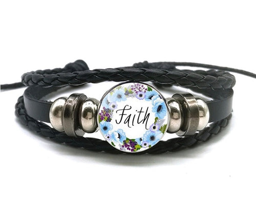 Faith - Snap Jewelry Charm Bracelet