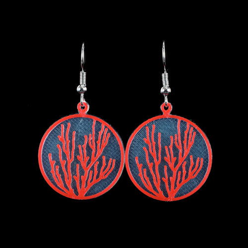 Coral Earring, Red on Translucent Blue