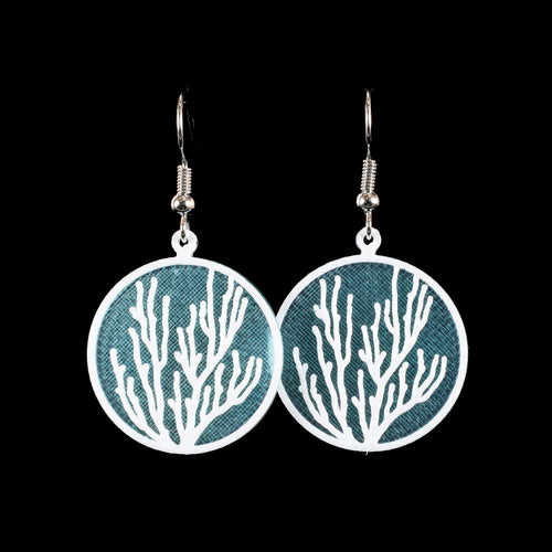 Coral Earring,White on Translucent Blue