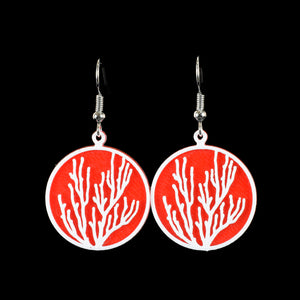 Coral Earring, White on Red