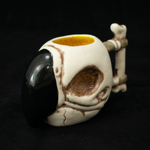 Parrot Skull Tiki Mug, Matte with Yellow Speckle