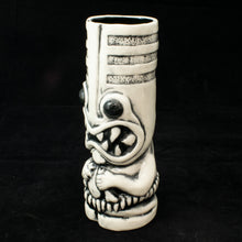 Load image into Gallery viewer, Toothy Tiki Mug, Gloss White Wipe Away with Black Interior Glaze