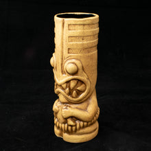 Load image into Gallery viewer, Toothy Tiki Mug, Brown Sand Wipe Away with Black Interior Glaze