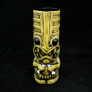 Toothy Tiki Mug, Olive Wipe Away with Black Interior Glaze