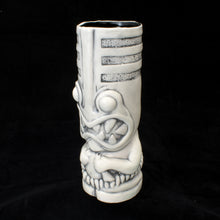 Load image into Gallery viewer, Toothy Tiki Mug, White Brush Off Gloss Glaze