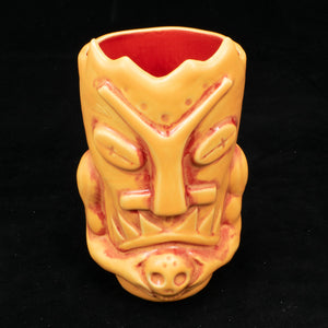 Terrible Tiki Mug, Matte Orange and Red Wipe Away with Red Interior