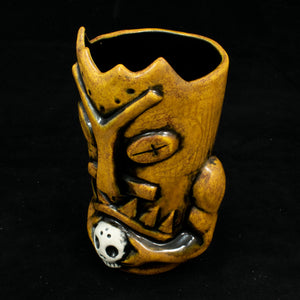Terrible Tiki Mug, Yellow Spice Wipe Away with Black Interior