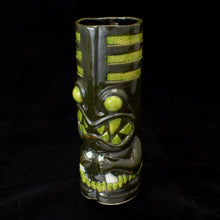 Load image into Gallery viewer, Toothy Tiki Mug, Dark Green Mineral and Lime Green Glaze