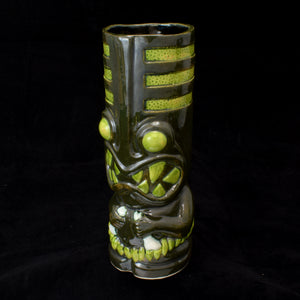 Toothy Tiki Mug, Dark Green Mineral and Lime Green Glaze
